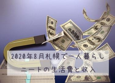 2020年8月札幌で一人暮らしニートの生活費・収入・株